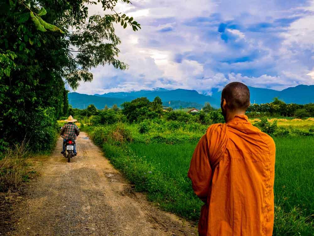 Vipassana-Meditation: Ein buddhistischer Mönch durch Thailand schlendernd.